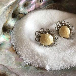 Sea shell silver clip on earrings